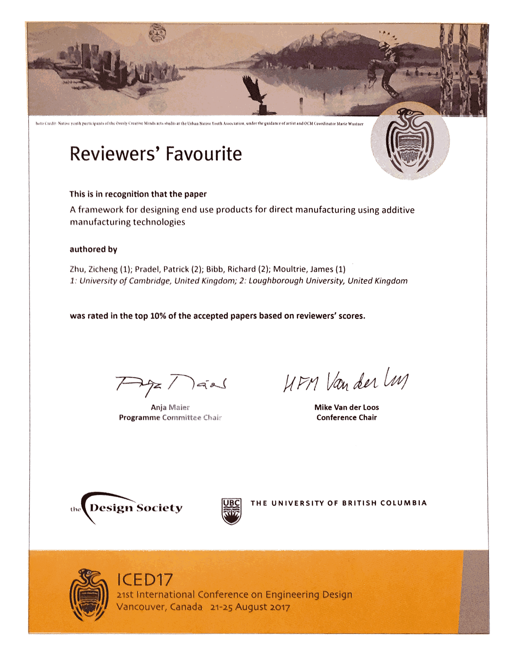 ICED top paper certificate